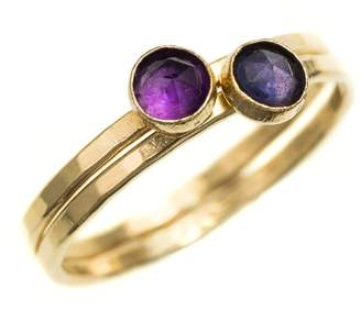 FEATHER+STONE - Gold Iolite and African Amethyst Rings