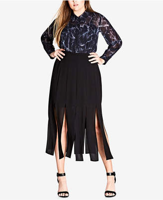 City Chic Trendy Plus Size Carwash Midi Skirt