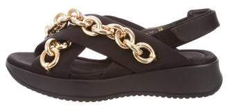 Burberry Chain-Link Slingback Sandals