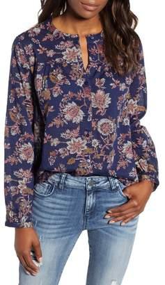 Caslon Patterned Split Neck Shirt (Petite)