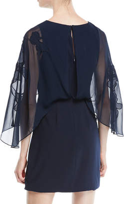 Halston Cape-Sleeve Mini Dress w/ Floral Embroidery