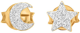Missoma 18ct Gold Vermeil Pave Star and Moon Stud Earrings, Gold