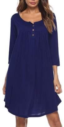 Vska Women Swing 3/4 Length Baggy Button Fall Winter Knee Length Dress XL