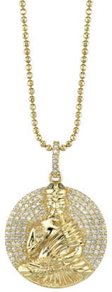Sheryl Lowe 14k Gold Buddha Pendant Necklace w/ Diamonds