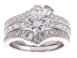FINE JEWELRY DiamonArt Cubic Zirconia Sterling Silver Bridal Ring Set