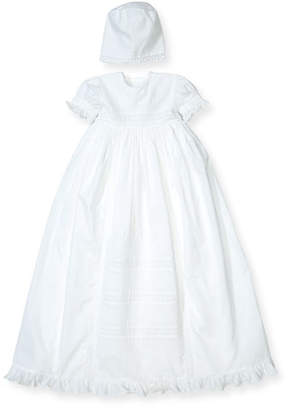 Kissy Kissy Nicole Short-Sleeve Pintucked Christening Gown Set, Size 0-18 Months