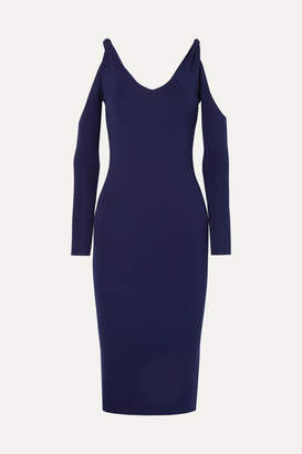 Dion Lee Cold-shoulder Ribbed Stretch-knit Dress - Navy