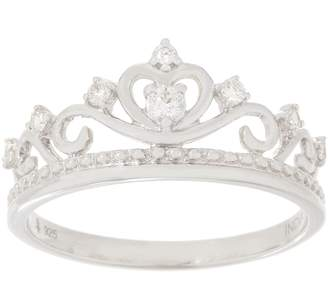 Affinity Diamond Jewelry Affinity Diamond Sterling Silver Crown Band Ring, 1/7 cttw