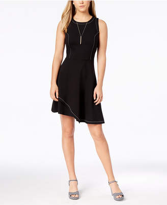 Bar III Contrast-Stitch Layered-Hem Fit & Flare Scuba Dress, Created for Macy's