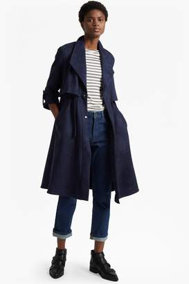 French Connection Patty Drape Long Sleeved Flared Trench Coat
