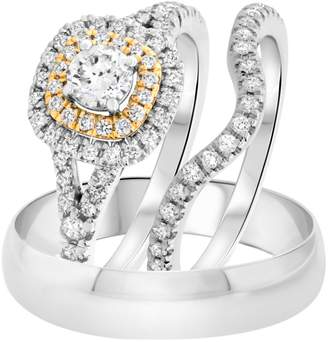 Express Forever Collection 1.25 Ct Cubic Zirconia Double Halo Trio Set Ring 14K Yellow Gold Over Sterling Engagement Wedding Ring Set for His & Her Ladies Jewelr in Shipping