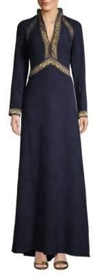 Tadashi Shoji Deep V-Neck Long-Sleeve Gown