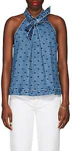 Ulla Johnson Women's Mako Dot-Embroidered Denim Halter Top-Blue