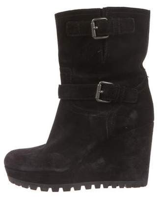 Prada Sport Suede Wedge Booties