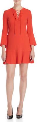 Karen Millen Lace-Up Flounce Dress
