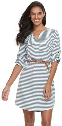 Women's Sharagano Roll-Tab Belted Shirtdress $100 thestylecure.com