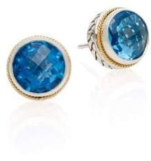 Effy Blue Topaz, Sterling Silver & 18K Yellow Gold Stud Earrings