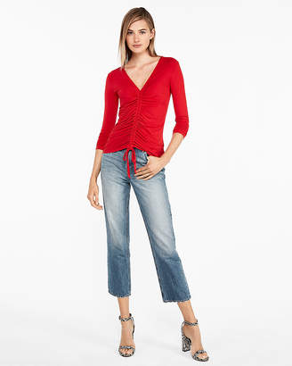 Express Ruched Tie Front V-Neck Blouse
