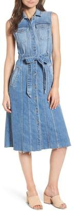 7 For All Mankind Trucker Denim Midi Dress