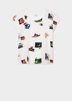 Women's Off White 'Paul's Scrapbook' Print Sleeveless T-Shirt