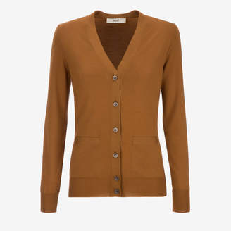 Bally Merino Wool Buttoned Cardigan Brown, Women's merino wool cardigan in cowboy