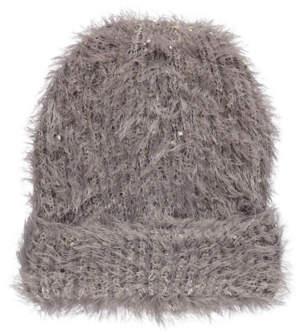 George Grey Eyelash Texture Sequin Beanie Hat