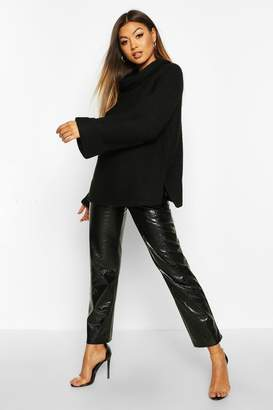 boohoo Cowl Neck Jumper With Split Side Seam
