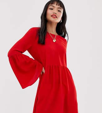 Asos DESIGN Petite fluted sleeve smock mini dress