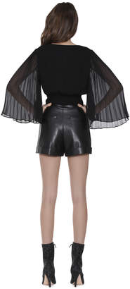 Alice + Olivia BRAY PLEATED SLEEVE WRAP TOP