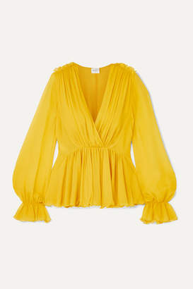 Giambattista Valli Ruffled Silk-georgette Blouse - Yellow