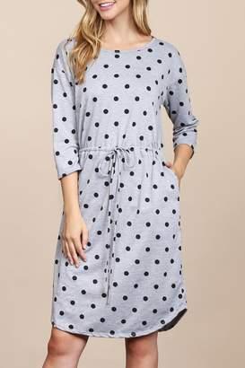 Riah Fashion French-Terry-Self-Tie Polka-Dot Dress