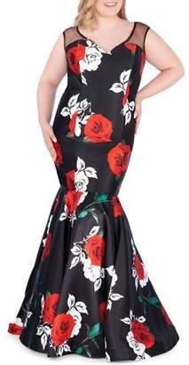 Mac Duggal Plus Size Multi Floral-Print Sleeveless Trumpet Gown w/ Zip-Off Skirt