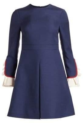 Valentino Flutter-Cuff Wool & Silk Fit-&-Flare Dress