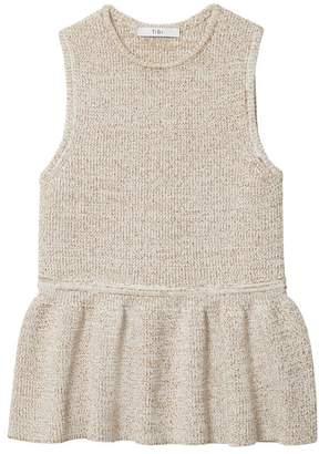 Tibi Tech Tweedy Sculpted Peplum Sleeveless Sweater