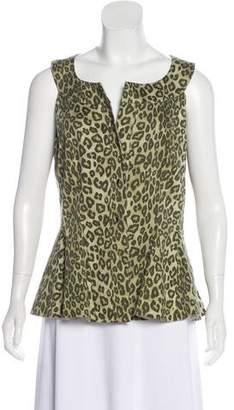 Lafayette 148 Sleeveless Leopard Print Top