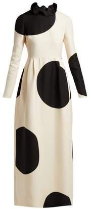 Valentino Polka Dot Wool Blend Dress - Womens - White Black