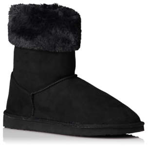 George Black Faux Fur Outdoor Snug Boots