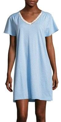 Karen Neuburger Dot-Print Short-Sleeve Nightgown