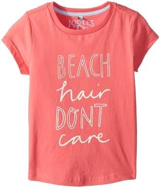 Joules Kids Beach Hair Don't Care Jersey T-Shirt Girl's T Shirt