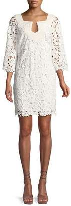 Trina Turk Lace Three-Quarter Sleeve Mini Dress