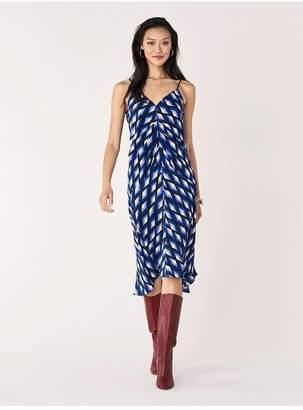 Diane von Furstenberg Donna Silk Crepe De Chine Ruched Slip Dress