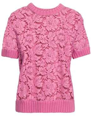 Valentino Paneled Ribbed-knit And Cotton-blend Corded Lace Top