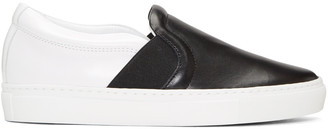 Lanvin Black & White Leather Slip-On Sneakers $495 thestylecure.com