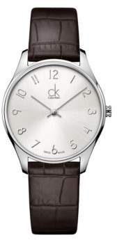 Calvin Klein Classic Stainless Steel Brown Leather Strap Watch, K4D221G6