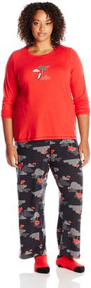 Hue Women's Plus Size Paws and Parasols Banded Knit Pajama Set 3-Piece