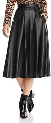 Hudson Pleated Faux-Leather Skirt