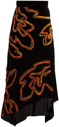 Peter Pilotto Floral-chenille asymmetric velvet skirt