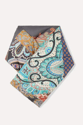 Etro Paisley-print Quilted Shell Down Scarf - Gray
