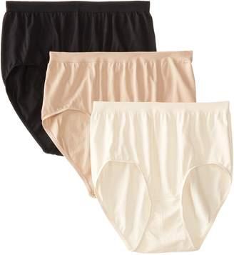 Bali Women's 3 Pack Comfort Revolution Brief Panty, White Damask/Light Beige Damask/Nude Damask
