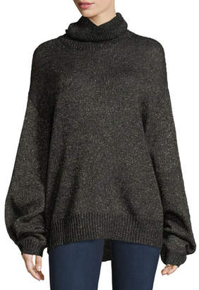 Caroline Constas Jasper Turtleneck Metallic Mohair Knit Sweater